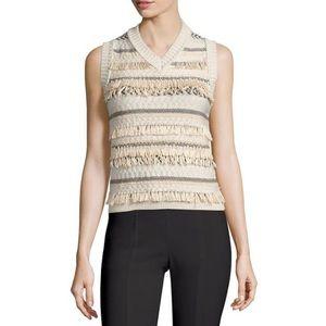 TORY BURCH NWT Cream Fringe V-Neck Sweater Vest